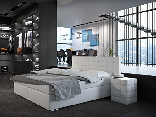 sam design boxspringbett bristol mit ziersteinen kunstlederbezug in wei bonellfederkern. Black Bedroom Furniture Sets. Home Design Ideas