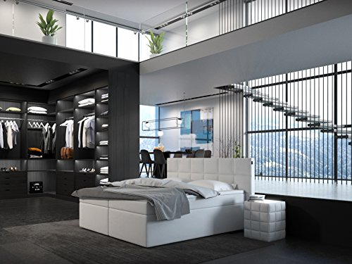 sam design boxspringbett miosono eco kunstlederbezug in wei box mit nosag unterfederung. Black Bedroom Furniture Sets. Home Design Ideas