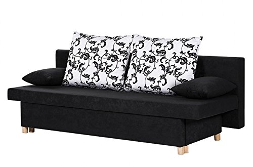 sam design schlafsofa willy in schwarz sofa aus stoff 192 x 77 cm zwei r ckenkissen und zwei. Black Bedroom Furniture Sets. Home Design Ideas