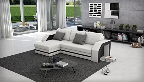 sam ecksofa acapulco wei schwarzes ecksofa 145 x 266 cm. Black Bedroom Furniture Sets. Home Design Ideas