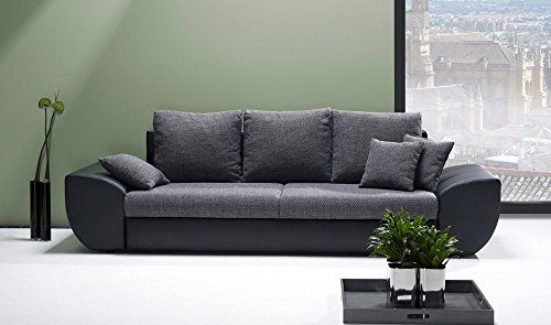 big sofa schwarz grau mit schlaffunktion und bettkasten kunstleder xxl couch gro es. Black Bedroom Furniture Sets. Home Design Ideas