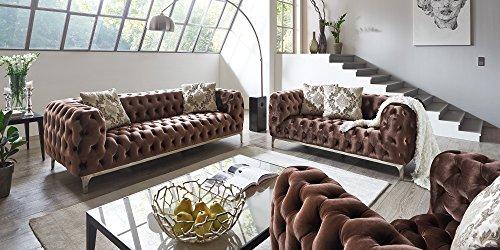 sofagarnitur 3 2 1 braun chesterfield ellon samtstoff knpfung modern landhausstil 0 m bel24. Black Bedroom Furniture Sets. Home Design Ideas