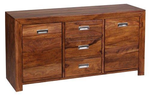 wohnling sideboard massivholz sheesham kommode 135 cm 3 schubladen 2 t ren design highboard. Black Bedroom Furniture Sets. Home Design Ideas
