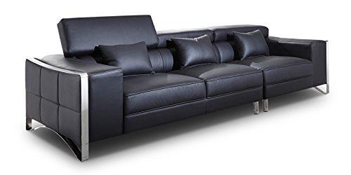 xxl big sofa gusti 4 sitzer echtleder mit kunstleder edelstahl schwarz m bel24. Black Bedroom Furniture Sets. Home Design Ideas