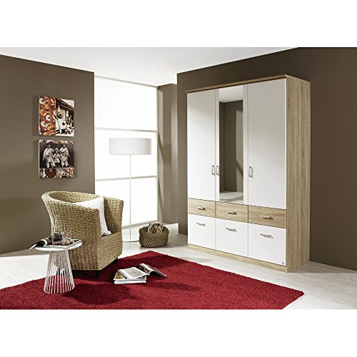 rauch kleiderschrank bremen wei dekor eiche sonoma mit spiegel m bel24. Black Bedroom Furniture Sets. Home Design Ideas