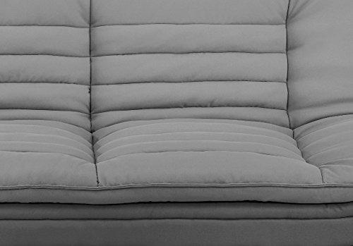 AC Design Furniture 47391 Schlafsofa Jasper, Sitz und Rücken Stoff hellbrau, Rahmen Stoff dunkelgrau, Füße Metall verchromt, Liegefläche: ca. 196 x 123 cm