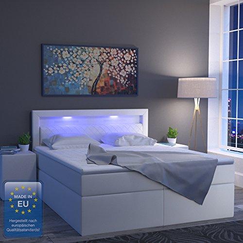 design boxspringbett led doppelbett bett hotelbett ehebett 180 200 cm wei m bel24. Black Bedroom Furniture Sets. Home Design Ideas