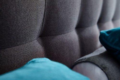 Bestseller ROCKSTAR von Welcon - Boxspringbett 180x200 Härtegrad H3 dunkelgrau mit freistehenden Tonnentaschenfederkernen, Kaltschaum-Topper, Echtholzfüßen, Designer-Kopfteil, Top Qualität für privat oder 5 Sterne Hotels - Ehebett - Doppelbett