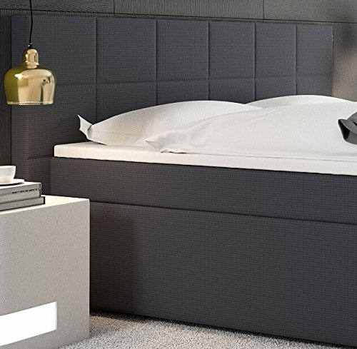Miosono® Design Boxspringbett mit Neo Stoff-Bezug in anthrazit mit Bonellfederkern, 7-Zonen H3 Taschenfederkern-Matratzen, Viscoschaum-Topper, Memory-Effekt, 180 x 200 cm [521031]