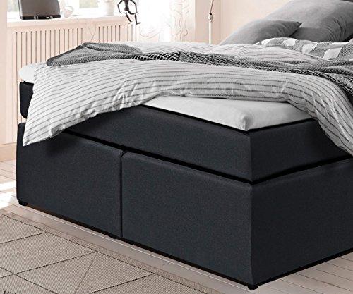 Bett Elexa Schwarz 140 x 200 cm Matratze und Topper Federkern Boxspringbett