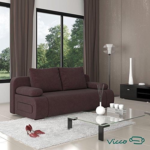 Vicco Schlafsofa Sofa Couch Ulm Federkern 200x91cm Mikrofaser braun Schlafcouch