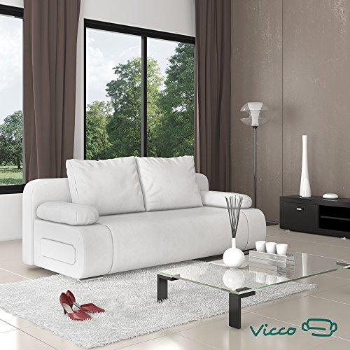 vicco schlafsofa sofa couch ulm federkern 200x91cm pu leder wei g stebett m bel24. Black Bedroom Furniture Sets. Home Design Ideas