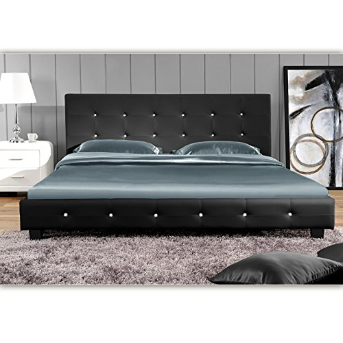 (Schwarz, 140cm x 200cm) Kalifornia Doppelbett Polsterbett Bettgestell Bett Lattenrost Kunstlederbett