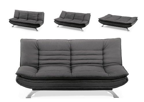 AC Design Furniture 47397 Schlafsofa Jasper, Kunstleder schwarz, Füße Metall verchromt, Liegefläche: ca. 196 x 123 cm