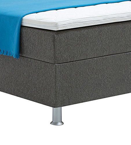 Atlantic Home Collection EDISON Boxspringbett 120 x 200 cm, Härtegrad H2, inklusive Topper, grau