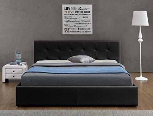 Doppelbett Bettkasten Klappbett Polsterbett Bettgestell Bett Lattenrost Kunstleder (160x200cm, Schwarz)