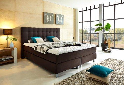 Luxus Boxspringbett 210x210 H3 inkl. Topper dunkelgrau grau anthrazit - Premiumklasse für 5 Sterne Hotels - günstig direkt vom Importeur