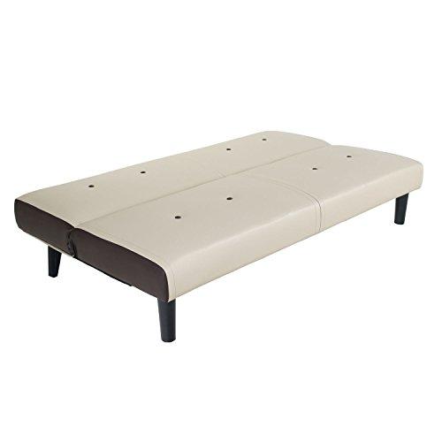 NEG Design Schlafsofa HELIOS (beige/braun) mit Napalon-Leder-Bezug Klappsofa, 3-Sitzer, Liegefläche 179x108cm, sehr bequem