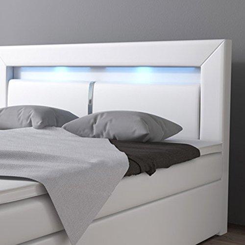 boxspringbett 160x200 wei mit bettkasten led kopflicht hotelbett br ssel lift m bel24. Black Bedroom Furniture Sets. Home Design Ideas