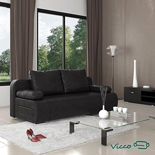 Vicco Schlafsofa Sofa Couch Ulm Federkern Schlafcouch PU Leder schwarz Gästebett
