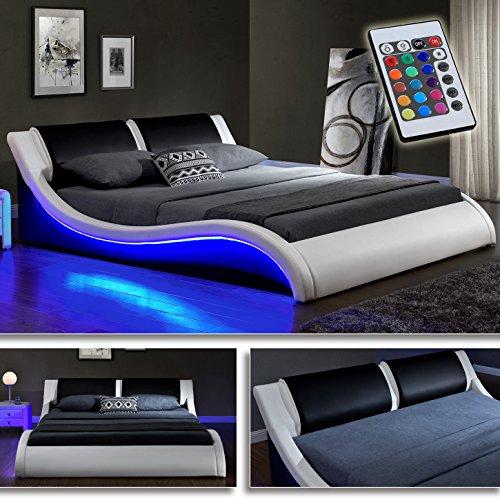 """""""Kentucky"""" Weiss/Schwarz Doppelbett Polsterbett LED Bett Lattenrost Kunstleder (160cm x 200cm)"""