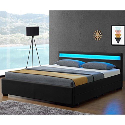 """Polsterbett """"Lyon"""" inklusive Bettkasten - 140 x 200 cm - schwarz"""
