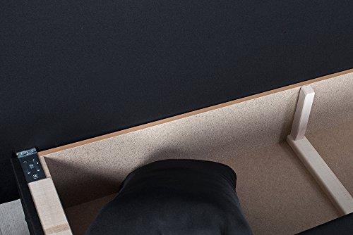 Design Funktionssofa CAMBRIDGE Strukturstoff schwarz 190cm Bettkasten Gästebett-Funktion