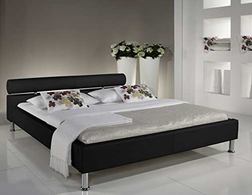 sette notti polsterbett bett 100x200 schwarz kunstleder bett liegefl che 100x200 cm anello art. Black Bedroom Furniture Sets. Home Design Ideas