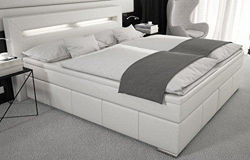 Boxspringbett 180x200 cm inkl. Matratze und Topper Bett Doppelbett Hotelbett Komplettbett Designerbett inkl. LED Beleuchtung