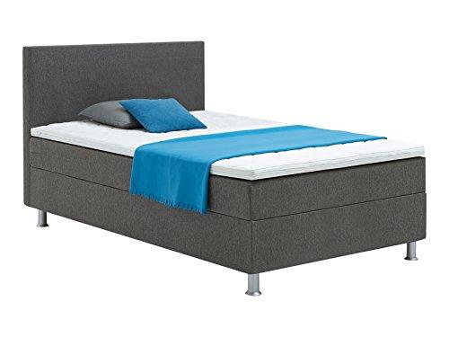atlantic home collection edison boxspringbett 120 x 200 cm h rtegrad h2 inklusive topper grau. Black Bedroom Furniture Sets. Home Design Ideas