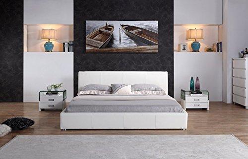 i-flair® - Designer Polsterbett, MONACO Bett 140x200 cm weiß - alle Farben & Größen