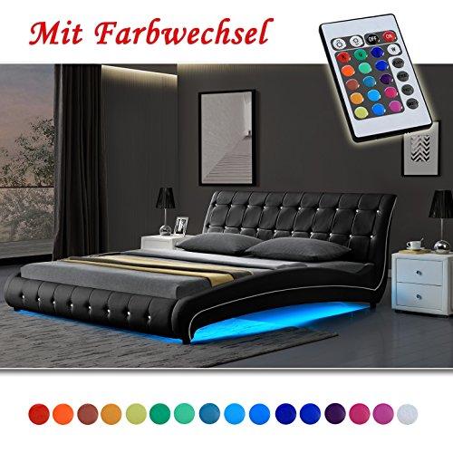 VEGAS Schwarz Doppelbett Polsterbett LED Unterbodenbeleuchtung Bett (140cm x 200cm)