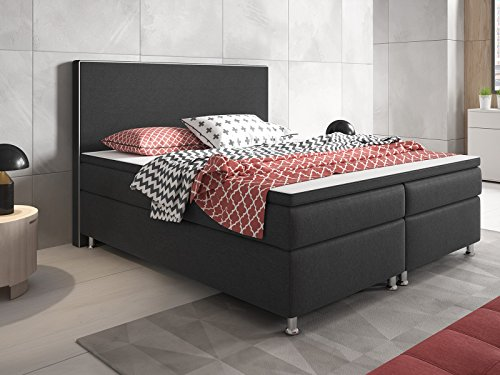boxspringbett king size xl 180x200 cm webstoff anthrazit m bel24. Black Bedroom Furniture Sets. Home Design Ideas