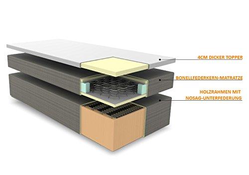 SAM® Design Boxspringbett mit Samolux®-Bezug in Grau, LED-Beleuchtung, Bonellfederkern-Matratze, Box mit Nosag-Unterfederung, extra dickem Topper, optimale Einstiegshöhe, 180 x 200 cm [521406]