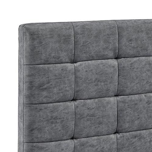 [my.bed] Elegantes Polsterbett gesteppt - 180x200cm - Wild-leder-imitat (Kopfteil: grau - Fuß-und Seitenteil: grau) - Bett / Doppelbett / Bettgestell inkl. Lattenrost