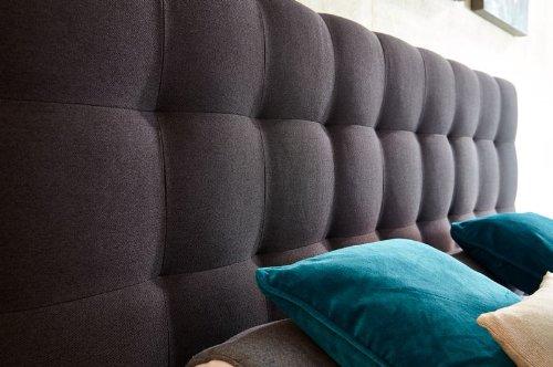 Luxus Boxspringbett 180x200 H2/H3 (für eine Person H2, für die andere Person H3) inkl. Topper, 840 TTF Tonnentaschenfederkerne, dunkelgrau - Premiumklasse für 5 Sterne Hotels - günstig direkt vom Importeur