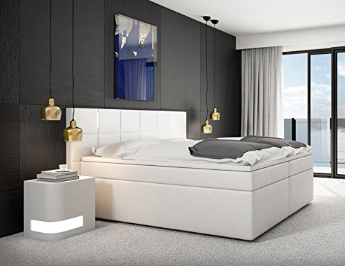 sam design boxspringbett sapri led mit samolux bezug in wei led beleuchtung h3. Black Bedroom Furniture Sets. Home Design Ideas