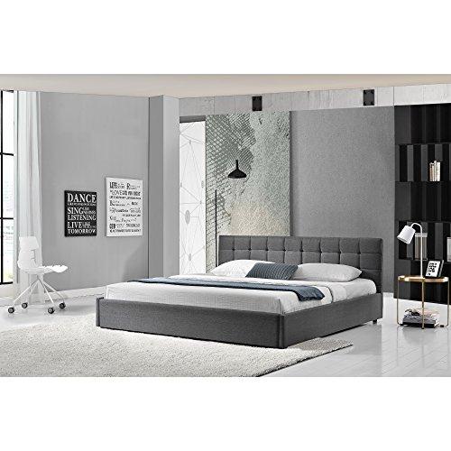 [my.bed] Elegantes Polsterbettgesteppt - 140x200cm - (Kopfteil: Textil grau - Fuß-und Seitenteil: Textil grau) - Bett / Doppelbett / Bettgestell inkl. Lattenrost