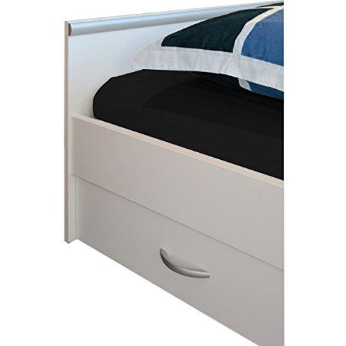 Funktionsbett 90*200 cm weiß mit 2 Bettkästen + offenes Fach Kinderbett Jugendbett Jugendliege Bettliege Bett Jugendzimmer Kinderzimmer