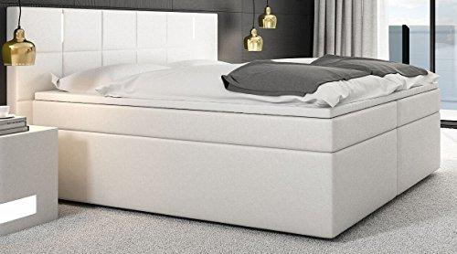 SAM® Design Boxspringbett Sapri LED mit Samolux®-Bezug in weiß, LED-Beleuchtung, H3 Taschenfederkern-Matratzen, Viscoschaum-Topper, 180 x 200 cm [521838]
