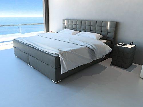 sam design boxspringbett mit samolux bezug in grau led beleuchtung bonellfederkern matratze. Black Bedroom Furniture Sets. Home Design Ideas