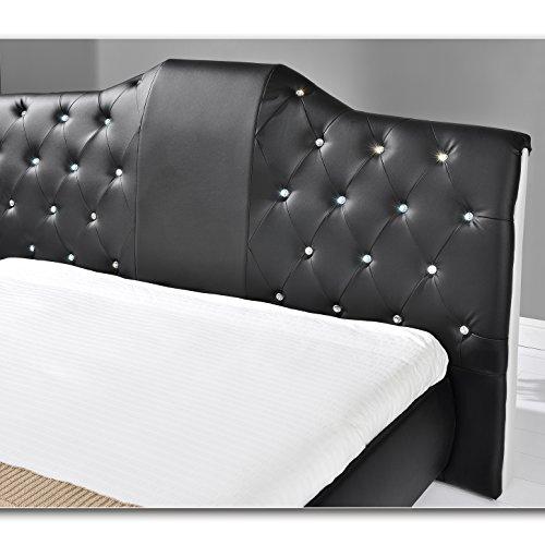 TIFFANY Schwarz Doppelbett Polsterbett Bettgestell Bett Lattenrost Kunstlederbett (140cm x 200cm)