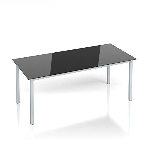 Alu Gartentisch 190x87cm Esstisch Terrassentisch Gartenmöbel Glasplatte Balkontisch Tisch
