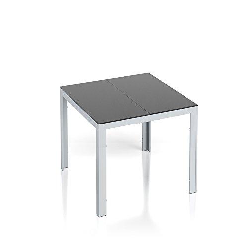 Alu Gartentisch 87x87cm Esstisch Terrassentisch Gartenmöbel Glasplatte Balkontisch Tisch