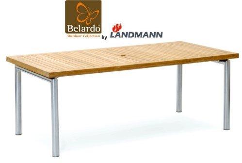 Belardo by Landmann Gartentisch aus Teakholz 200x100cm Edelstahl Garten Tisch