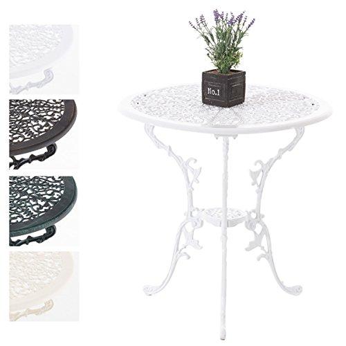 CLP Alu-Guss Tisch VISHNU, Gartentisch rund ca. Ø 66 cm, Höhe 67 cm, Design nostalgisch antik