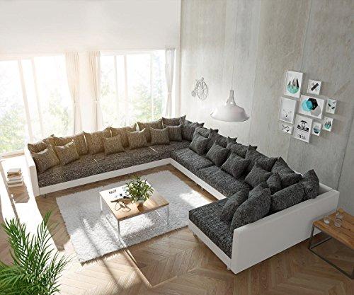 Couch Clovis XXL Weiss Schwarz Ottomane Links Wohnlandschaft
