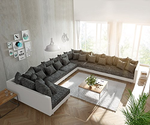 couch clovis xxl weiss schwarz ottomane rechts. Black Bedroom Furniture Sets. Home Design Ideas