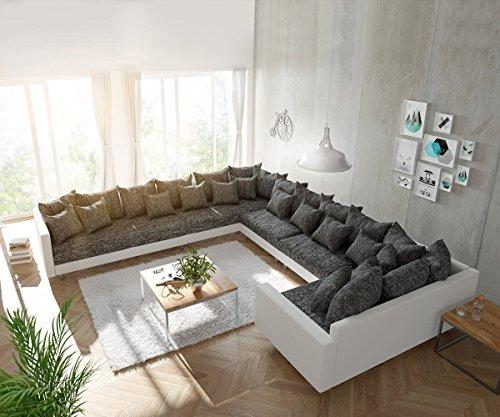 Couch Clovis XXL Weiss Schwarz mit Armlehne Ottomane Links Wohnlandschaft