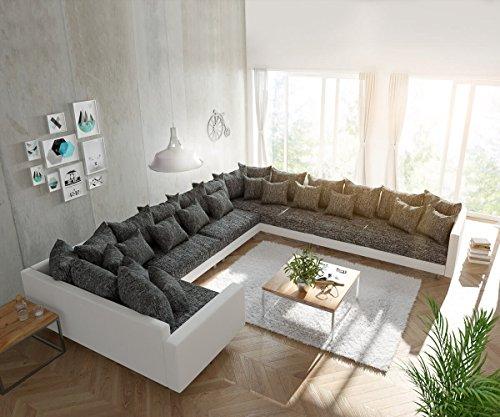 Couch Clovis XXL Weiss Schwarz mit Armlehne Ottomane Rechts Wohnlandschaft